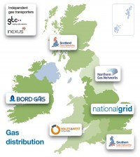 Gas distribution companies in England, Wales and Scotland.